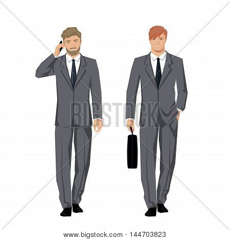Young man in a classic elegant suit. Active successful businessman. Vector.