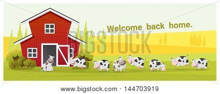 Rural landscape and farm animal background with cow , vector , illustration