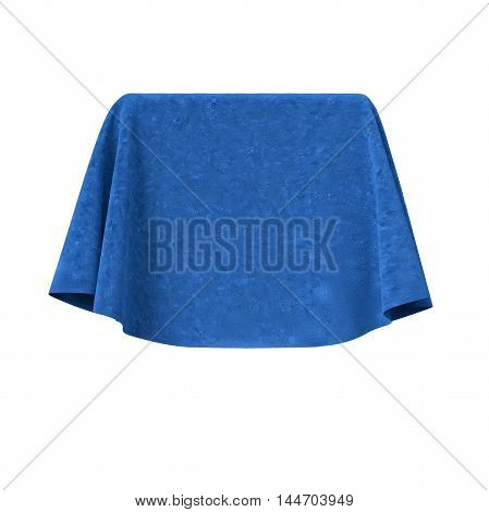 Box covered with blue velvet fabric. Isolated on white background. Surprise, award, presentation concept. Reveal the hidden object. Raise the curtain. Photo realistic 3D illustration.
