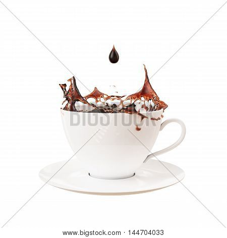 3D drop and splash in cup of coffee