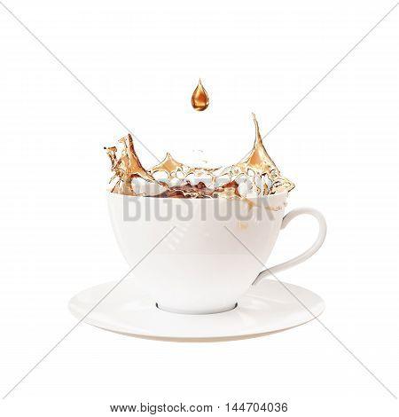3D drop and splash in cup of tea