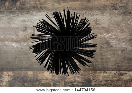 Delicious black spaghetti on wooden table background
