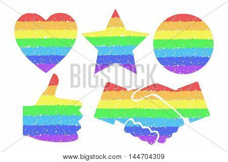 Rainbow design elements. Colorful circle, heart, star, thumbs up, shaking hands. Gay homosexual symbols Tolerance concept. Graphic element for documents, templates, posters. Vector illustration