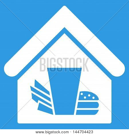 Fastfood Cafe icon. Vector style is flat iconic symbol, white color, blue background.
