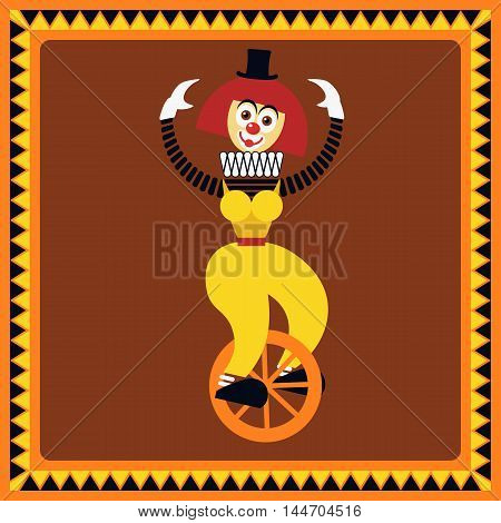 Funny female clown teetering on a unicycle. The equilibrist balances. Flat style. Vector illustration
