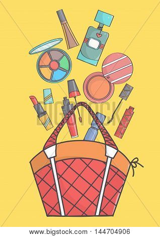 Colorful illustration of makeup falling in or out of bag. Beauty cosmetics falling in or out of bag.