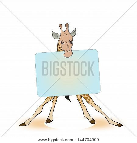 Giraffe holding a sign for the label. Vector Illustration