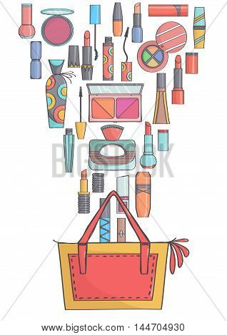 Trendy yellow and red handbag with makeup and beauty products. Colorful makeup and perfumes falling in or out of bag.