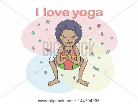 Woman or girl practicing yoga. Cute, colorful cartoon of yoga garland pose.