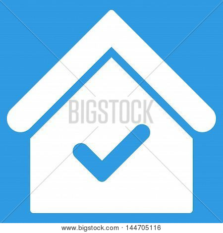 Valid House icon. Vector style is flat iconic symbol, white color, blue background.