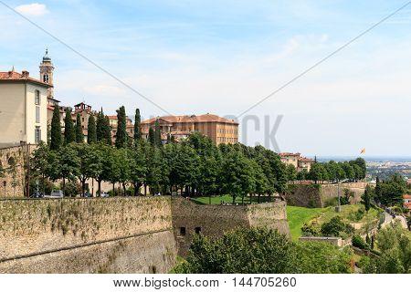 Upper City Citta Alta In Bergamo With Venetian Walls, Italy