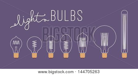 Set of seven retro unlit light bulbs against purple background with a title. Cartoon vector flat-style illustration