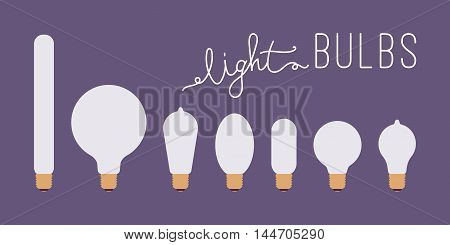 Set of seven retro lit light bulbs against purple background with a title. Cartoon vector flat-style illustration
