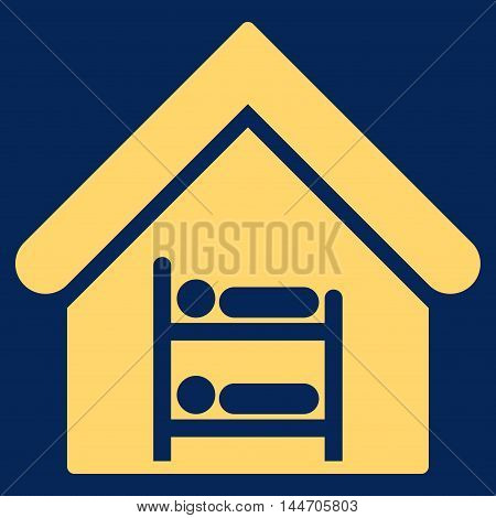 Hostel icon. Vector style is flat iconic symbol, yellow color, blue background.