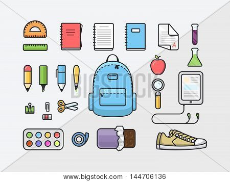 School supplies icon set back to school outline illustration flat design template of educational kit