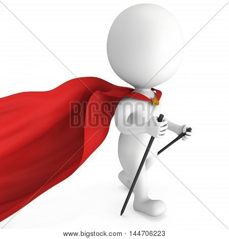 Nordic walking white superhero man with red cloak. 3d render illustration of super hero isolated on white background. Concept of helthcare and fitness small people.