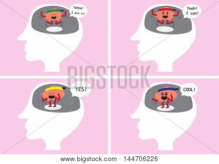 brain cartoon character vector illustration image showing how brain feel when happy and delighted inside human head (conceptual image about how brain reacting when you are glad and exciting)