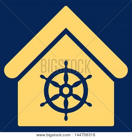 Steering Wheel House icon. Vector style is flat iconic symbol, yellow color, blue background.