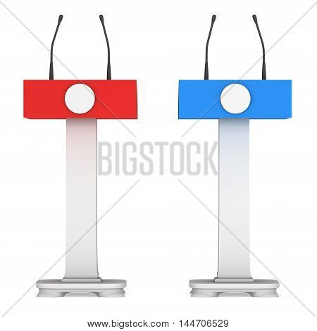 3d Speaker Podium. Red and blue tribune rostrum stands with microphones. 3d render isolated on white background. Debate press conference concept