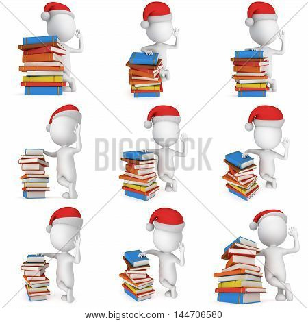 3d white man in santa claus cap stand near pile of books set. 3D render illustration collection isolated on white.