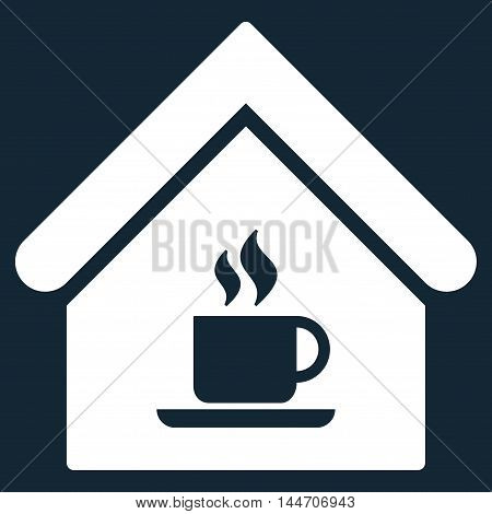 Cafe House icon. Vector style is flat iconic symbol, white color, dark blue background.