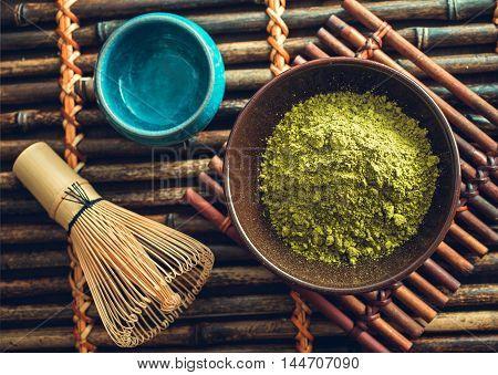 Matcha tea powder. Japanese organic green tea. Top view