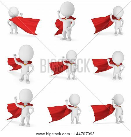 Man brave superhero with red cloak and sign of victory - right hand raised up clenched fist. Isolated on white 3d render illustration collection.