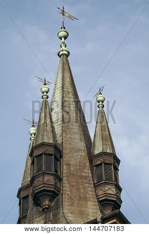 Medieval gabled roof of tower closeup. Toned