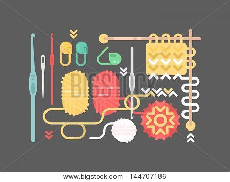 Knitting objects set. Yarn, pins, buttons needle vector illustration