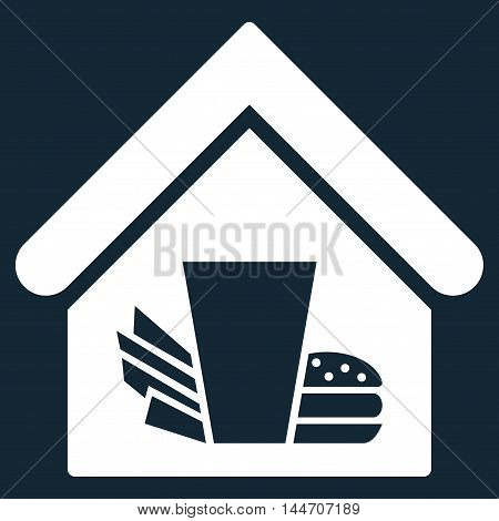 Fastfood Cafe icon. Vector style is flat iconic symbol, white color, dark blue background.