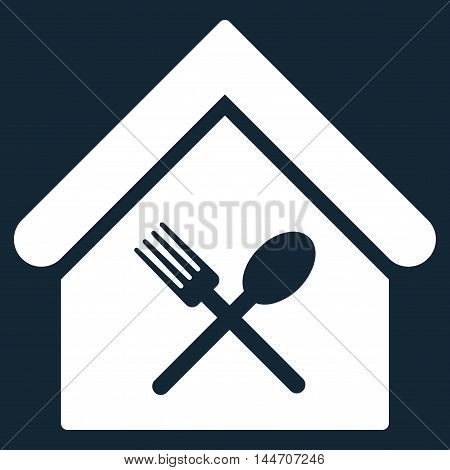 Food Court icon. Vector style is flat iconic symbol, white color, dark blue background.