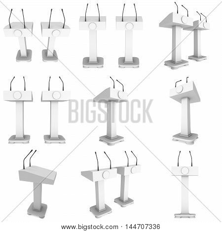3d Speaker Podium Set. White Tribune Rostrum Stand with Microphones collection. 3d render illustration isolated on white background. Debate press conference concept
