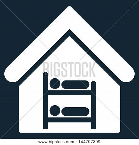 Hostel icon. Vector style is flat iconic symbol, white color, dark blue background.