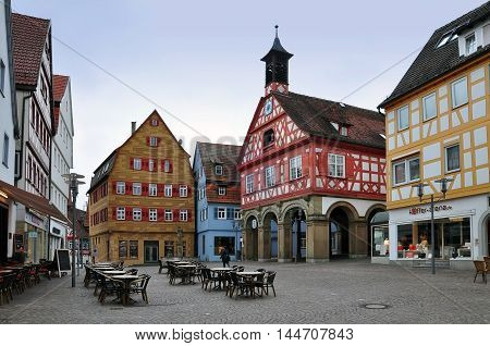 WAIBLINGEN, Germany - April 25, 2016: The main square of Waiblingen with colorful half-timbered houses and the town hall. Baden-Wurttemberg, Germany.