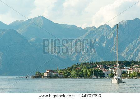 Touristic town Dobrota on the Kotor Bay coast, Montenegro