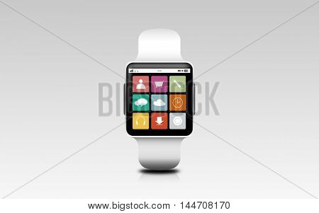modern technology, application, object and media concept - illustration of smart watch with menu icons on screen over gray background