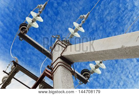 Electrical tower on background of blue sky