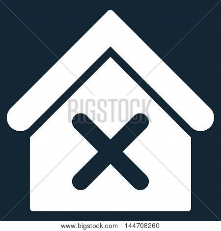 Wrong House icon. Vector style is flat iconic symbol, white color, dark blue background.