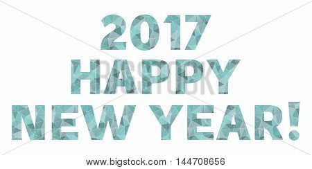 Happy New Year 2017 vector blue polygonal symbol