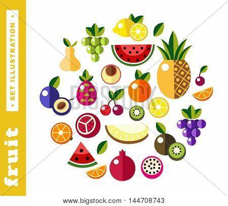 Set illustrations of fresh fruit on white background