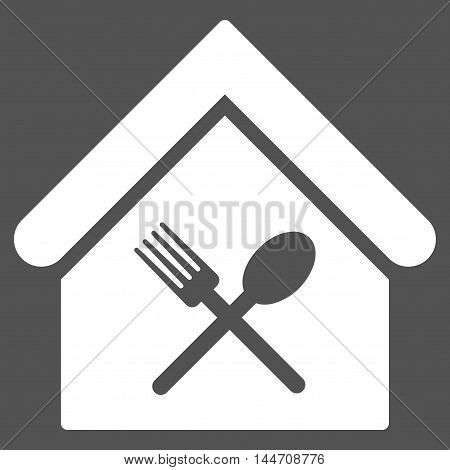 Food Court icon. Vector style is flat iconic symbol, white color, gray background.