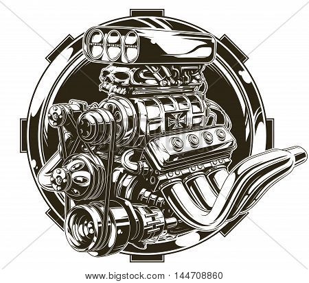A vector illustration of Cool detailed hot road engine with skull tattoo