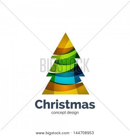 Vector abstract geometric Christmas tree icon. Vector New Year concept created with waves