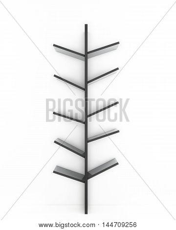 3D designed tree shelf isolated on white background