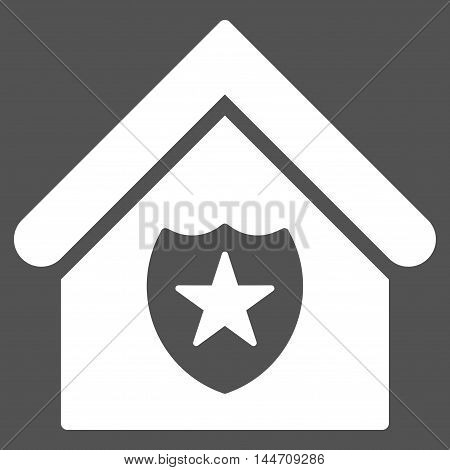 Realty Protection icon. Vector style is flat iconic symbol, white color, gray background.