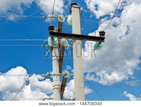 the Electrical tower on background of sky