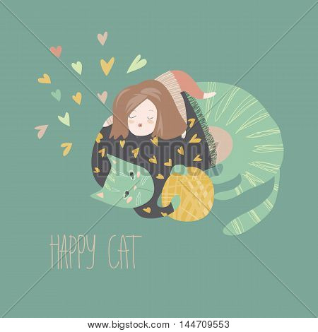 Cute cartoon girl with her playful cat. Vector illustration
