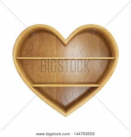 3D empty wooden heart shelf isolated on white