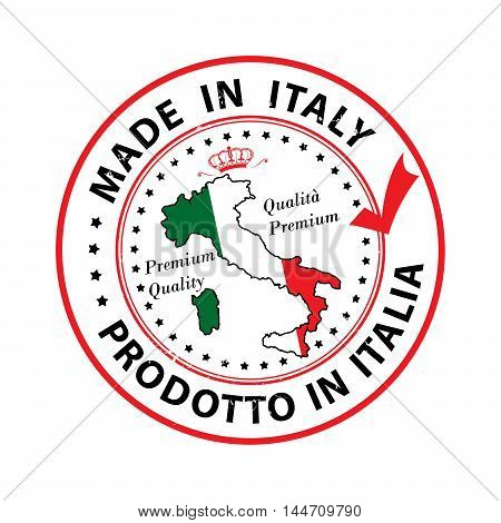 Made in Italy, Premium Quality (text written Italian language - Prodotto in Italia) grunge stamp with the map and the national flag colors. Print colors (CMYK) used