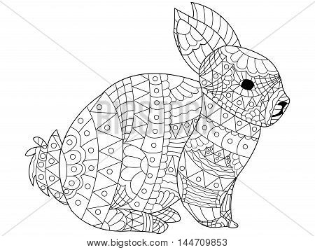 Rabbit Coloring pet adult vector illustration. Anti-stress coloring for adults bunny. Zentangle style. Black and white lines hare